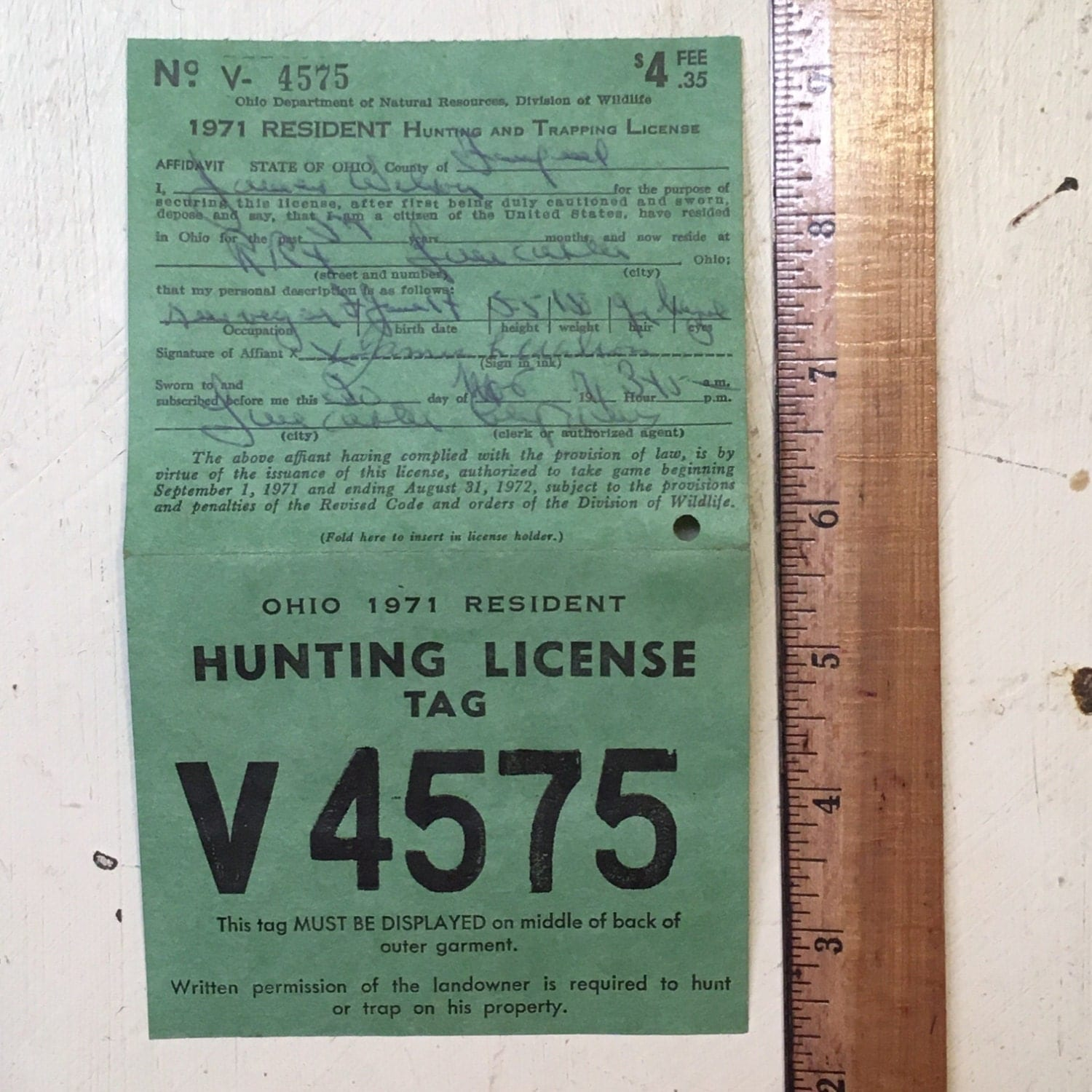 Sale 1971 ohio hunting license tag from magpiemary on for Fishing license illinois