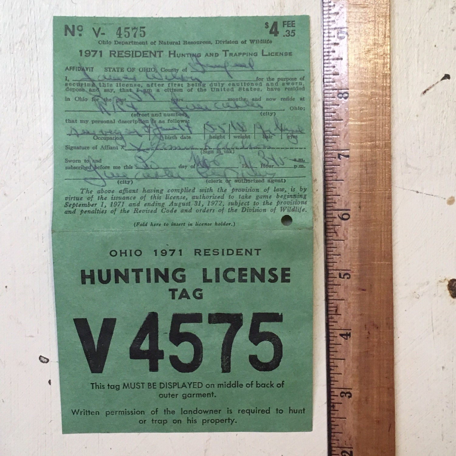 Sale 1971 ohio hunting license tag from magpiemary on for Ohio state fishing license