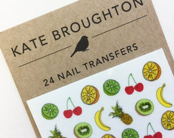 fruit nail transfers - illustrated tropical nail art decals - pineapple , cherries , kiwi , banana , orange , lime