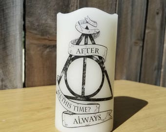 Harry Potter Inspired Always Flameless Large Pillar Candle