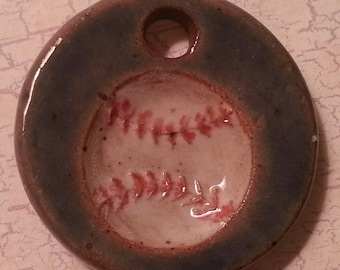 Custom Small Handmade Clay Pottery Pendant Charm or Mini Ornament - Choose Shape and Color - BASEBALL