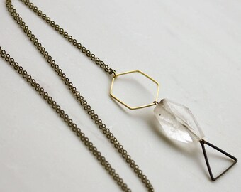 Crystal necklace, triangle long pendant necklace, Long necklace, Geometric long necklace, Statement Necklace, hexagon, crystal necklace