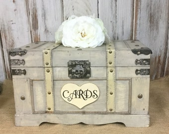Extra Large Trunk, Shabby Chic Wedding Box, Rustic Barn Wedding Box, Cards-Advice-Wooden Box-Wedding Momentums-Home Decor-Birthday Cards