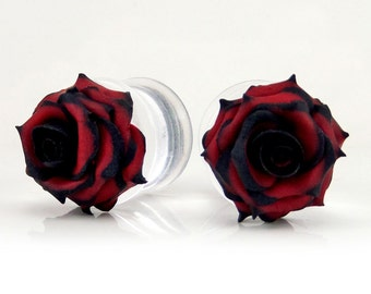 Tipped Rose Plug Gauge Earrings - 1 Pair Unique Rose Plugs, More Colors, Tipped Rose Jewelry