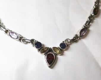 Multi semi precious gem stone Y shaped 925 silver necklace garnet peridot amethyst citrine  new vintage with 41cm chain