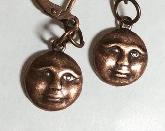 Full Moon earrings handmade detailed copper tone for pierced ears nickel free