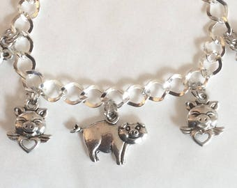 "Pigs might fly bracelet pig hearts  handmade silver tone charms 19cm /7.5"" Other lengths available and matching earrings"
