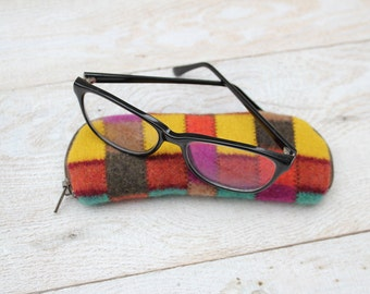 Felted Wool Glasses Case Colorful Patchwork Glasses Case in Teal Green Rust Yellow and Orange
