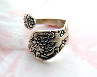 CLOSEOUT SALE Antique Silver Ring ~ Silver Floral Spoon Ring ~ Ring ~ Adjustable Statement Ring (RD-2)