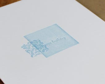 Happy Birthday Letterpress Card, minimalist card, note card, cotton card, blue and white