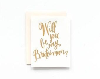 Veux-tu être mon Bridesman? Carte de voeux de feuille d'or