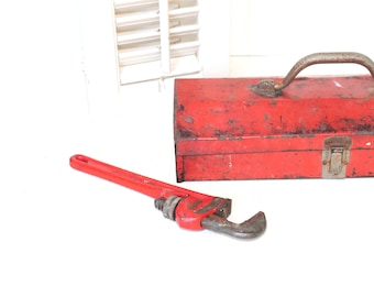Vintage Tool Box, Vintage Red Tool Box, Rustic Industrial Decor, Father's Day Gift, Vermont American Made, Succulents Planter, Storage Box