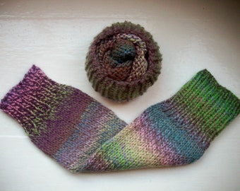 Chunky warm leg warmers wool mix rich pastels pink green purple blue chocolate brown