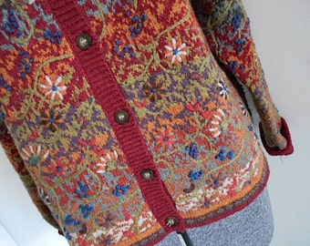 SALE Vtg Fair Isle floral embroidery cardigan, TALBOTS silk cotton wool linen - women large L medium