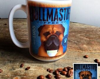 Bullmastiff dog coffee mug graphic art MUG 15 oz  OR 11 oz ceramic coffee mug READ details 15 oz mug pictured