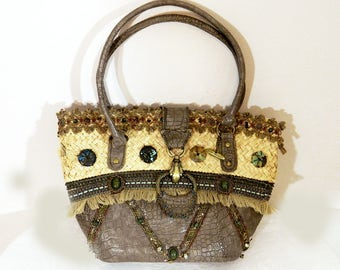 Reduced Vintage Mary Frances Purse, Collectible Handbag Unique Beaded Straw Bag 80s Big Bag, Has some damage.....reduced price