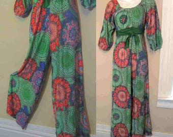 60s Medallion Jumpsuit vintage Boho Peasant Romper Acid Green 60s mandala vintage One Piece 60s Bell bottom Palazzo jumpsuit S
