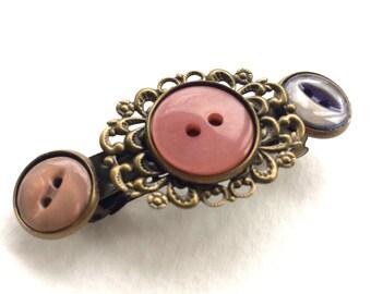Mauve and Purple Vintage Button Barrette