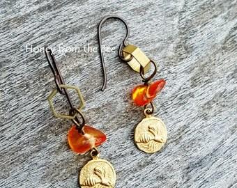 Honeybee Earrings - Lightweight dangle earrings - honeycomb