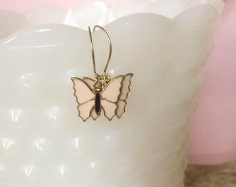 Blush Butterfly Dangle Earrings, Vintage Inspired Gift for Mom, Boho Style Pierced Earrings, Pretty in Pink Jewelry