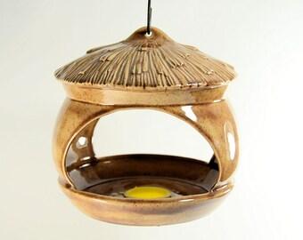 Ceramic Bird Feeder Scioto Brown