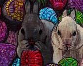 original art  aceo drawing Easter bunny Ukrainian eggs