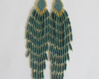 Seed Bead Long Fringe Earrings - Dark Teal