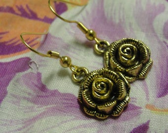Rose Dangle Pierced Earrings
