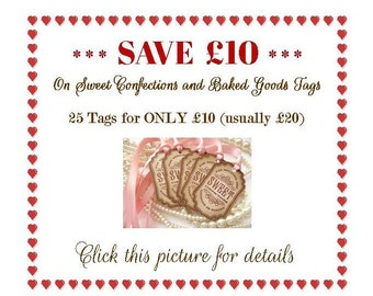 Special offer tags, set of 25, Candy Buffet Tags, Baked Goods Labels, Valentines Day Party, Sweet Confections Tags, Wedding Favour Tags