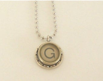 SALE Typewriter Key Necklace, Letter G , Vintage, Initial Jewelry,  All Letters Available, Typography Jewelry,