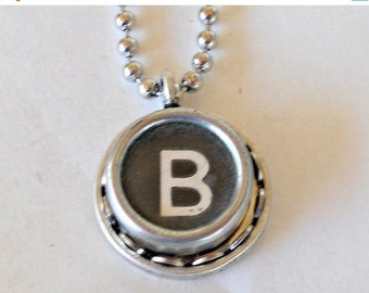SALE Retro Typewriter Key Necklace Graduation Gift Typist Book Lover Author Initial Vintage Jewelry  All Letters A-Z
