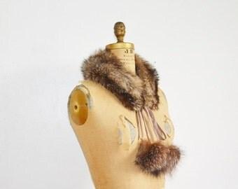 SALE- Silver fox fur scarf with pompoms