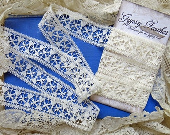 Antique Fine Cotton Lace ... X & O Pattern ... Airy, Delicate ... Vintage lace yardage insertion trim, LY170509