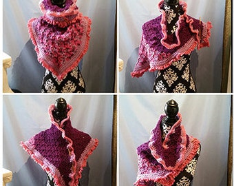Crochet Kerchief, Shoulder Wrap, Neck Warmer, Purple Frill