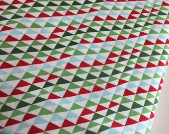 Christmas fabric, Arrow fabric, Holiday fabric, Moda fabrics, Cotton fabric by the Yard, Triangle in Green, Choose the cut