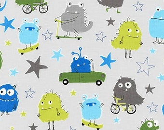 Monster fabric, Kids fabric, Baby fabric, Cute Novelty fabric, Cotton fabric by the yard, Monsters and Stars in Park, Choose your cut
