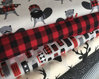 Burly Beavers Fabric Bundle of 6, Hipster fabric, Lumberjack, Thermos, Plaid, Robert Kaufman- Choose the cuts, Free Shipping Available