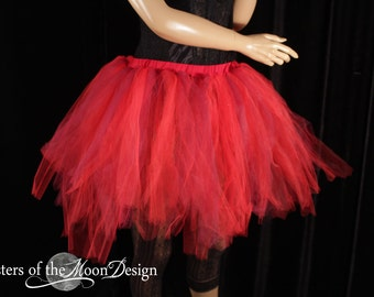 Ready to ship Tutu tulle skirt adult Small streamer sewn red burgundy wine boho gypsy tribal dance club costume rave halloween  - S