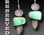 RESERVED Earrings Custom Sterling Silver Earrings Chrysoprase Dangle earrings