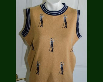 Vintage 1970's Graphic Jazz Dancer Sweater Vest