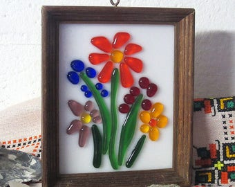 Colorful Fused Glass Flowers on White in Salvaged Wood Frame