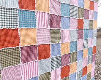 Queen Rag Quilt - Homespun Quilt - Plaid - Colorful Homespun Rag Quilt - Queen Quilt
