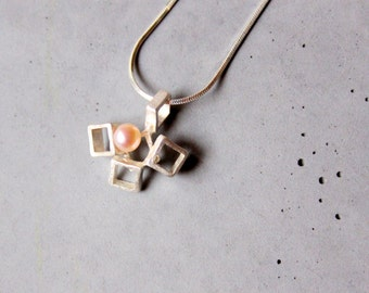 Cubic sterling silver pendant with Mother of Pearl on silver necklace, Unusual shapes, Random Squares, Geometric Necklace