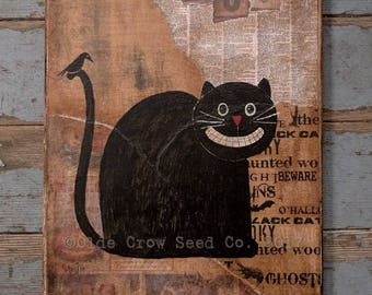 Black Cat Crow Painting 9x12  Original Mixed Media Halloween Folk Art