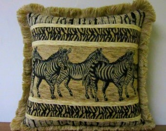 OOAK Zebra Pillow Chenille Tapestry Decorator Pillow Soft Comfy Upholstery Fabric Fringed
