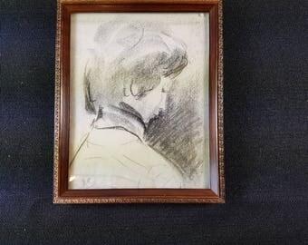 Vintage Charcoal Sketch Portrait of Lady Original Art in Frame 1960's