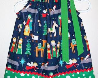 Nativity Dress Christmas Dress Nativity Scene Pillowcase Dress with Baby Jesus Manger Scene Holiday dresses Christmas Dresses for Christmas