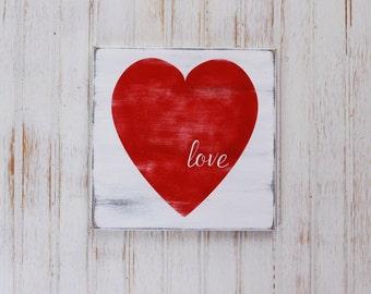 Love Sign Heart Wood Hand Painted Worn Finish Wedding Decor Worn Finish