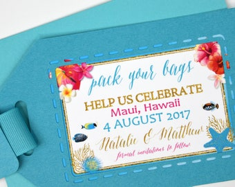 Hot Pink/Turquoise Tropical Flowers, Leaves and Seashells Beach Destination Wedding Save the Date Tag