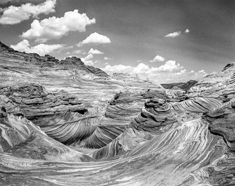 Utah Photography, Large Landscape Print, Troubled Sea, Desert Photography, Southwest Decor, Desert Landscape, Black and White Film Photo